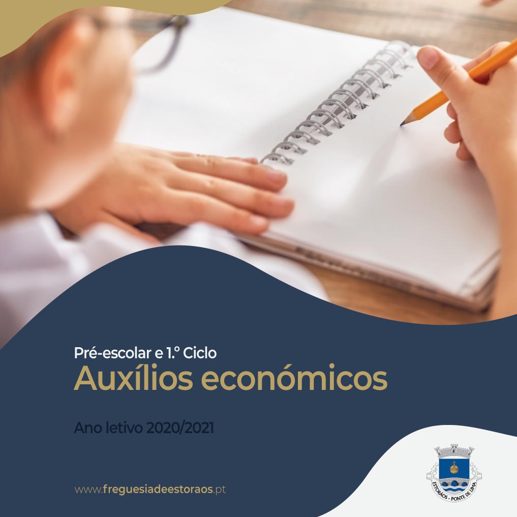 Auxílios Económicos Pré-escolar e 1.º Ciclo - Ano letivo 2020/2021