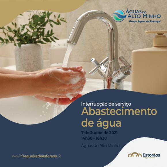 Interrupção de serviço de abastecimento de água   7 junho 2021 (14h30 - 16h30)